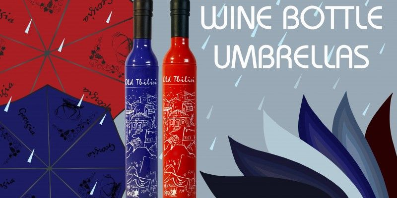 RED AND BLUE UMBRELLAS WITH THE ORIGINAL DESIGN OF WINE BOTTLE