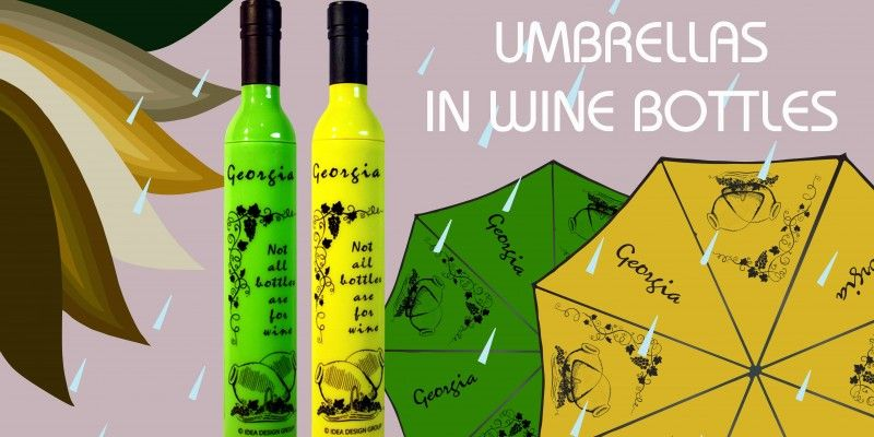 YELLOW AND GREEN UMBRELLAS WITH THE ORIGINAL DESIGN OF WINE BOTTLE