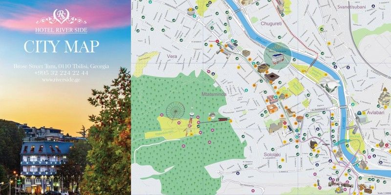 Branded Tourist Maps of Tbilisi For Hotel Riverside