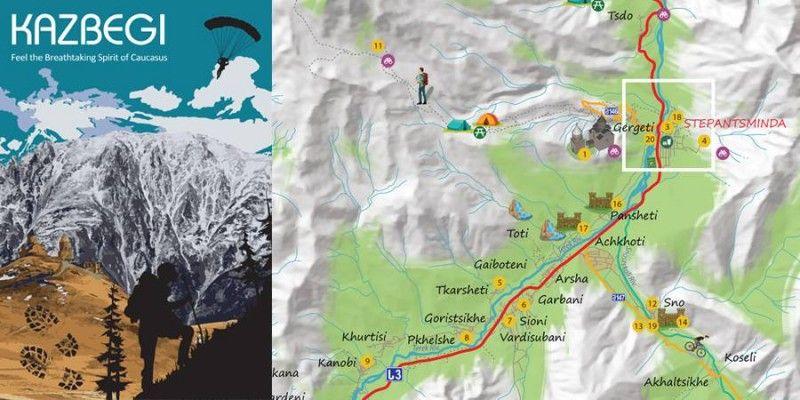 გუდაური-ყაზბეგის ტურისრული რუკა