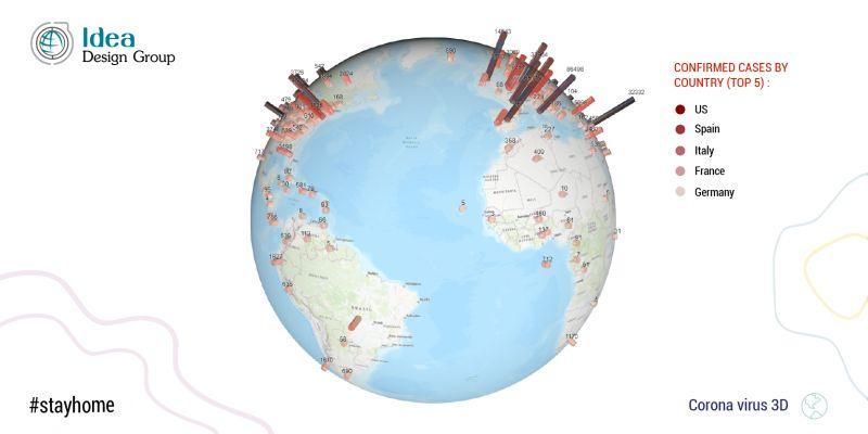 კორონა ვირუსის მონაცემების ვიზუალიზაცია რუკაზე