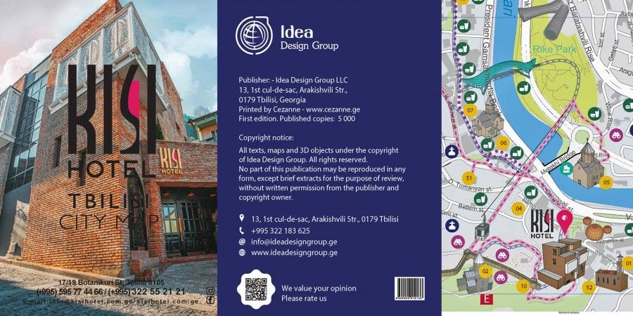 Branded Tbilisi Maps for Golden Palace Hotel, Kisi Hotel, Hotel Vilton and Hotel British House