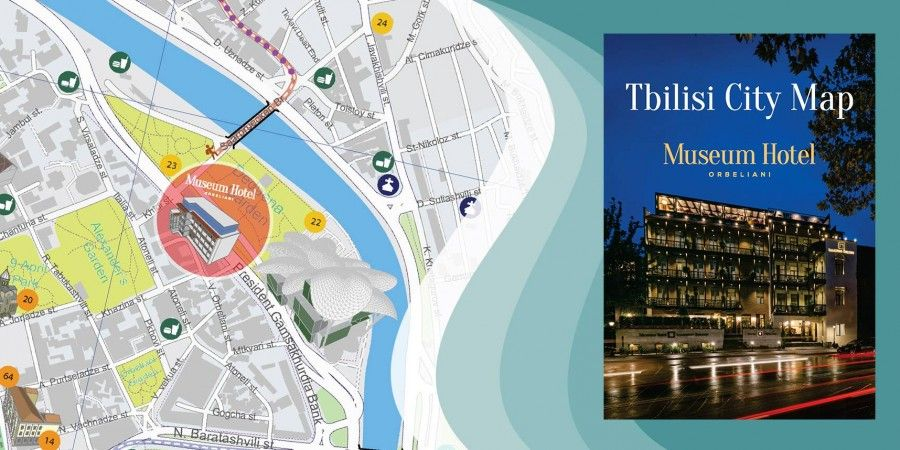 Creation of Tbilisi touristic map in English and Russian languages exclusively for Museum Hotel