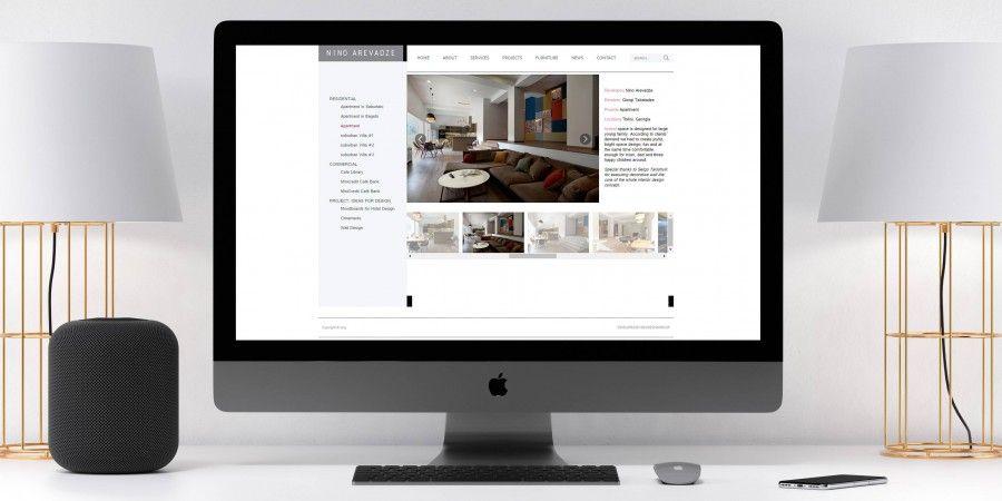 Website design and development for interior designer Nino Arevadze