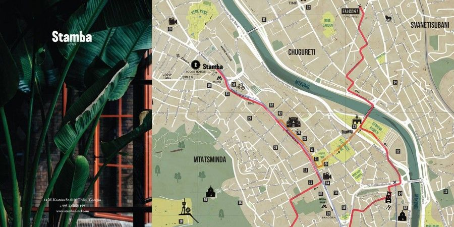Branded Tbilisi Tourist Maps For Stamba Hotel
